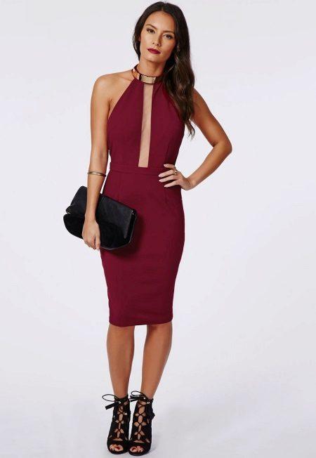 Dress wine color midi length