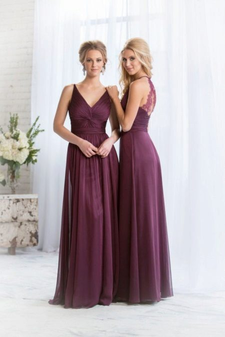 Wine-colored long dress