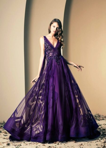 Beautiful dress in eggplant color