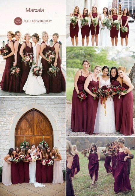 Marsala-väri bridesmaids-mekoissa