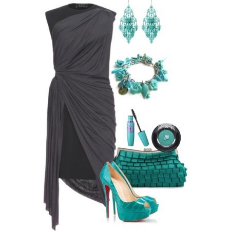 Celadon accessories to gray dress