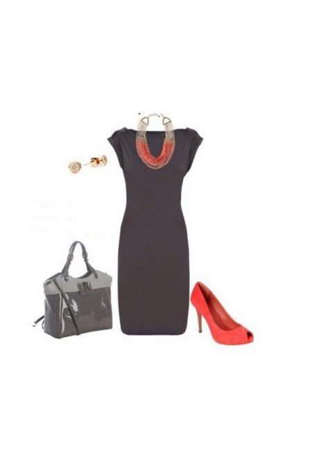 Gray dress with coral shoes