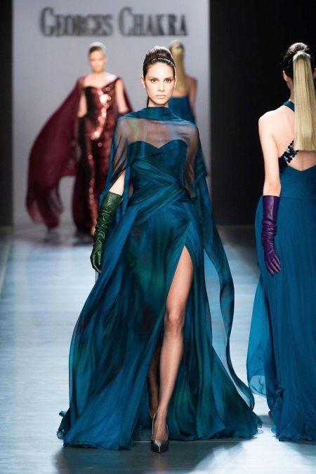 Koyu mavi yanardöner elbise