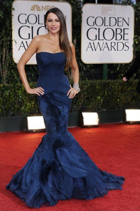 Koyu mavi deniz kızı elbisesi - akşam versiyonu