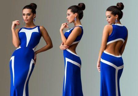 Beyaz ile koyu mavi elbise