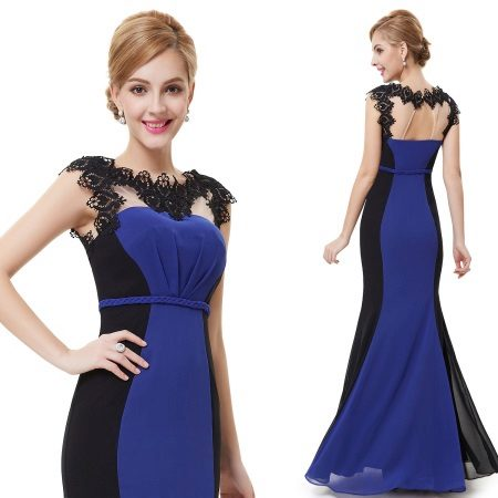 Mavi ve siyah gece elbisesi