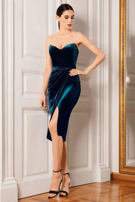 Midi fenda vestido de noite