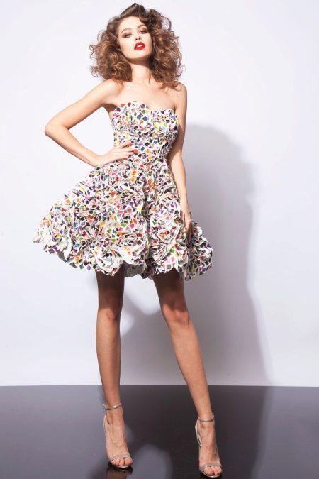 Short fluffy color dress