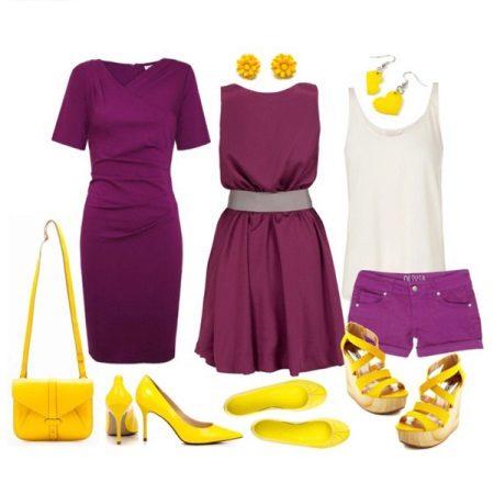 Sarı aksesuarlar ile mor elbise