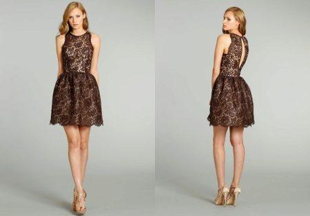 Kort guipure brun kjole