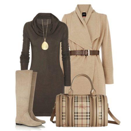 Beige og brun kjole tilbehør