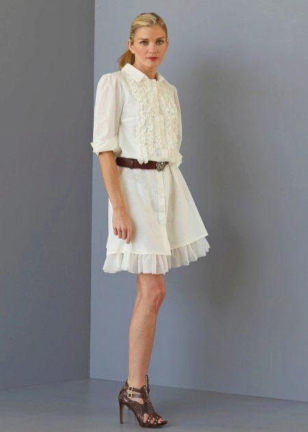 Lüks sütlü etekli orta uzunlukta gömlek elbise
