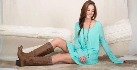 Aqua Short Dress with Brown Boots