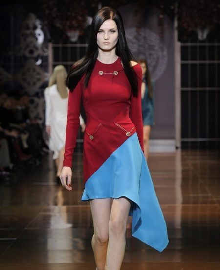 Dress two-tone red and blue