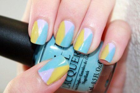White-yellow-mint manicure