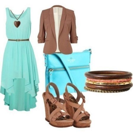 Mint dress with brown accessories