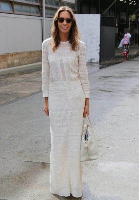 Puuvilla valkoinen pitkä mekko