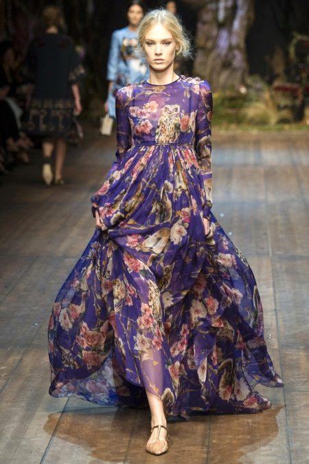 Gaun chiffon panjang dengan cetakan bunga