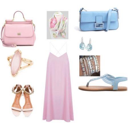 Accesorii rochii roz albastru