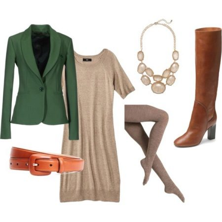 Body dress with green jacket