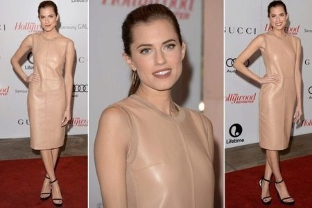 Flesh-colored leather dress