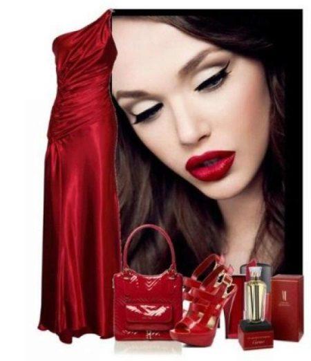 Maquiagem sob um vestido de cereja