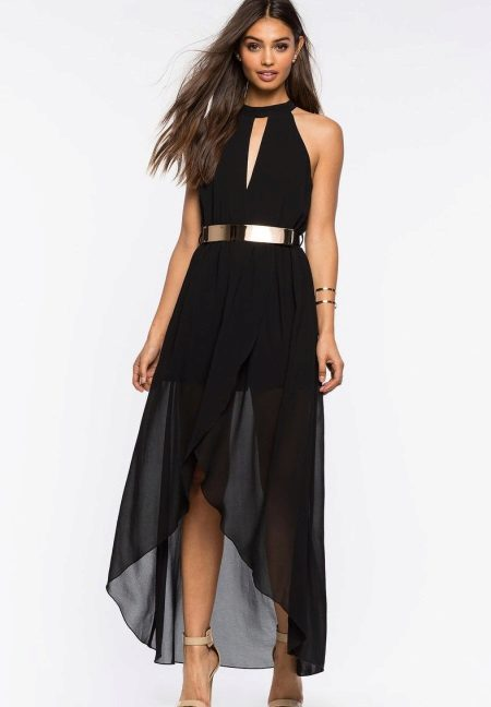 Asymmetrical black long dress