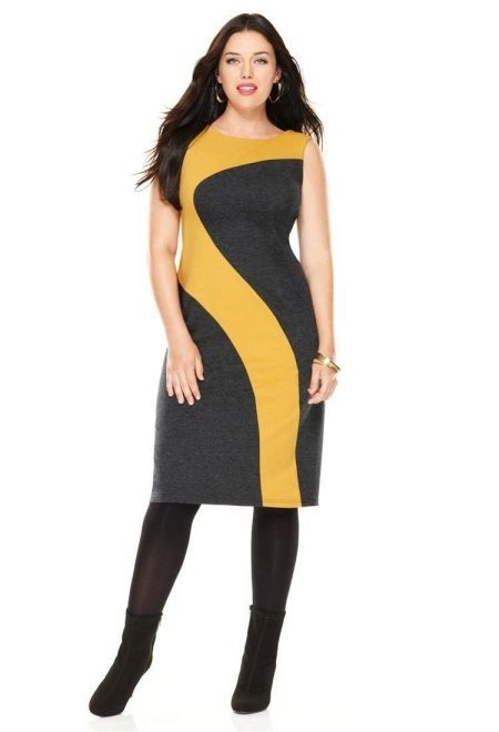 Dress asymmetric black and yellow colors