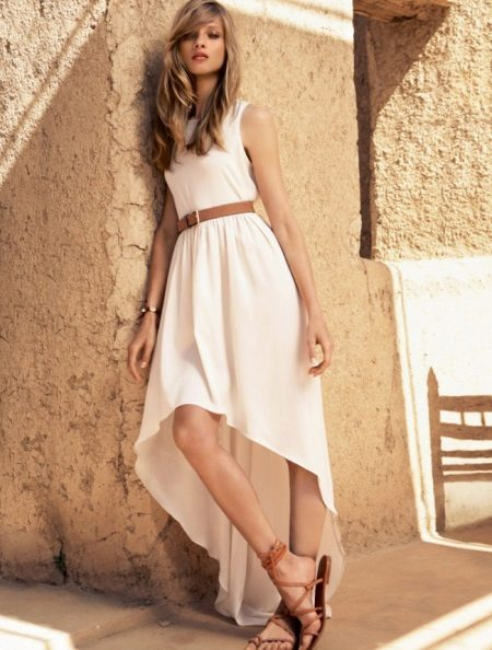 Long white asymmetrical dress