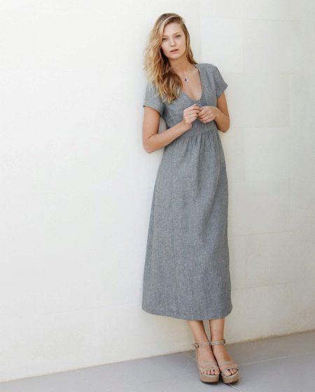 Pellava mekko harmaa MIDI-pituus