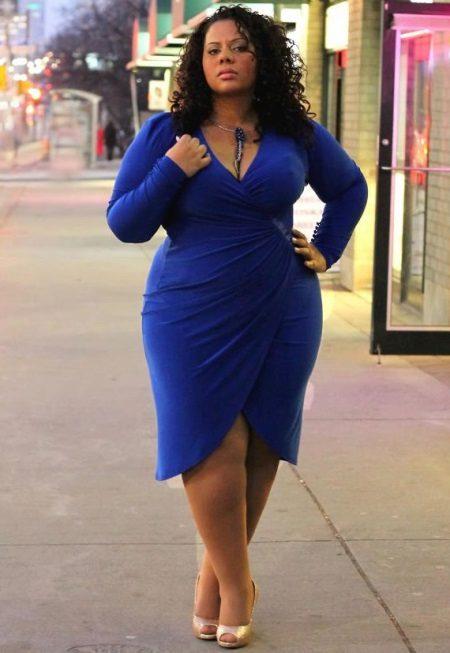 Vestit blau amb olor per a dones obeses