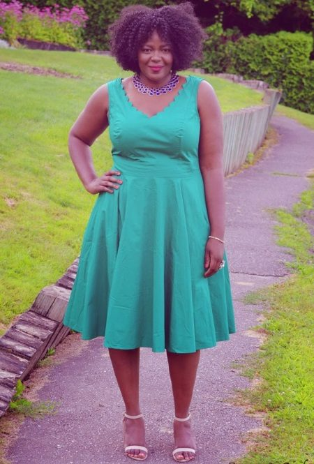 Vestit verd obert amb forma A per a dones obeses