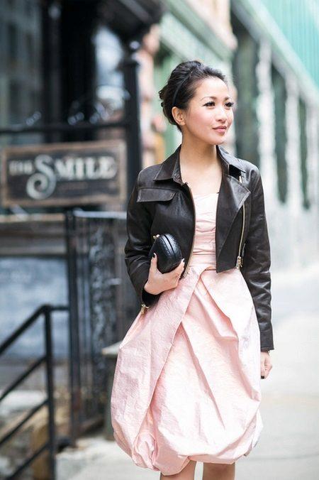 Vestido de balão com jaqueta