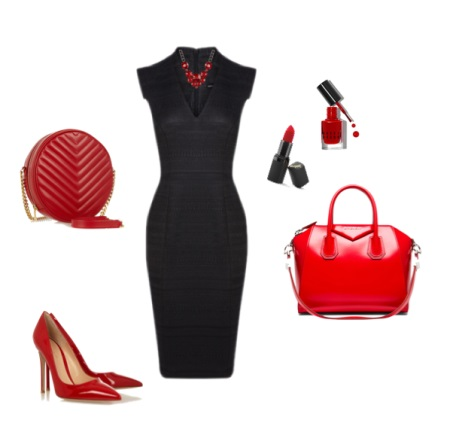 Red accessories to black dress case