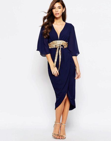 Jurk in contrasterende riem met kimono