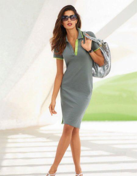 שמלת פולו באורך חוט אפור