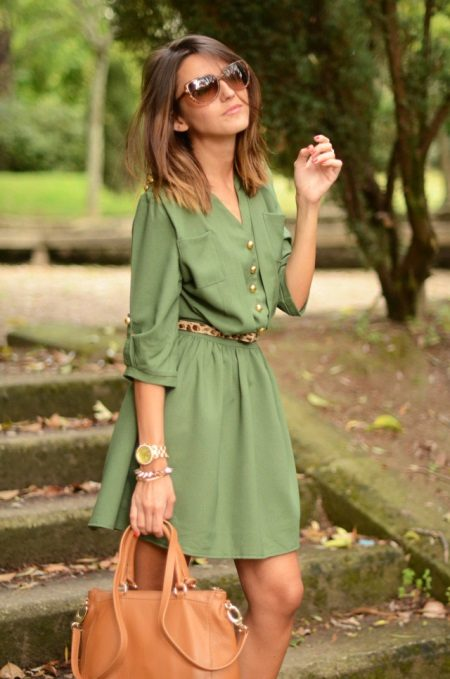 Khaki Casual Shirt Dress