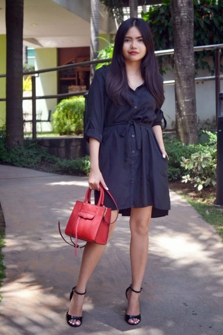 Black loose shirt dress