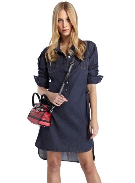 Shirt dress with clutch