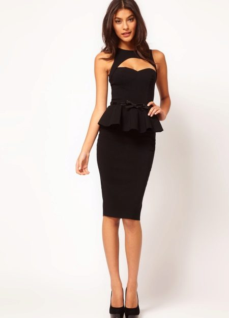 Black dress with basky and pencil skirt