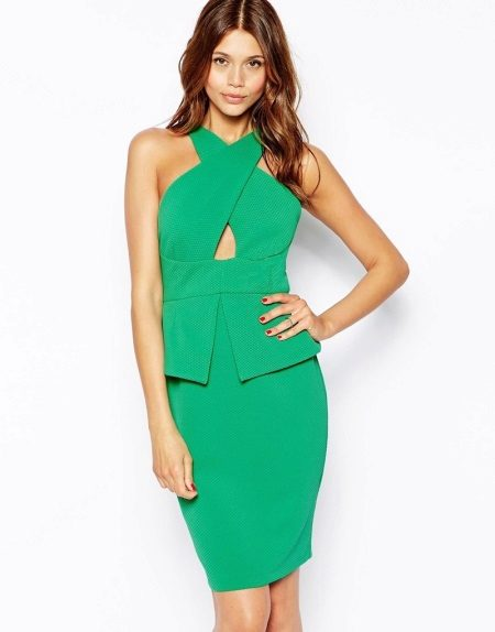Green dress with a basky and unusual neck