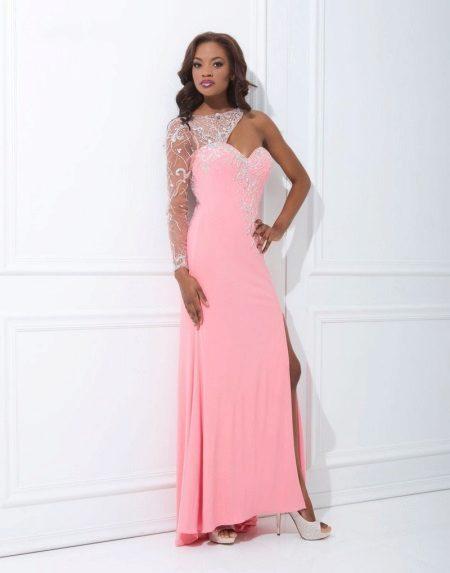 Hosszú rózsaszín ruha, egy ujjú