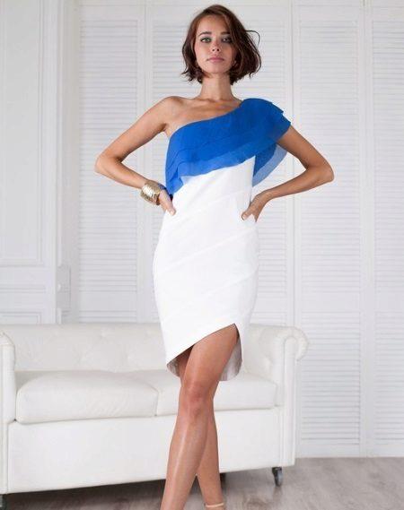 Gaun yang tidak simetri kain tebal dengan bungkus chiffon pada satu bahu