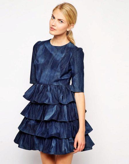 Gaun biru dengan baju tidur di atas skirt