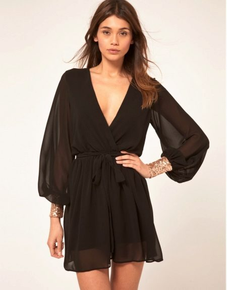 Black chiffon wrap dress