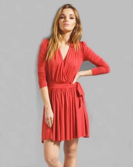 Red short wrap dress