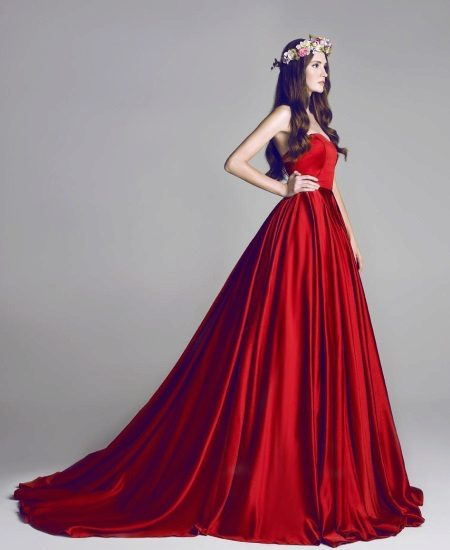 Red satin dress with train