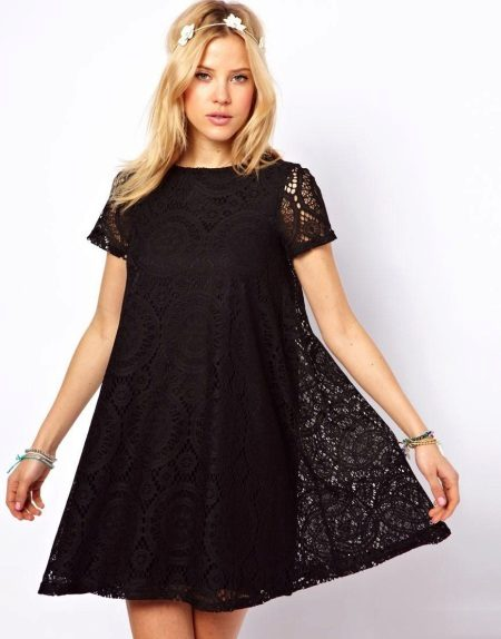 Double A-line Dress with Lace Top