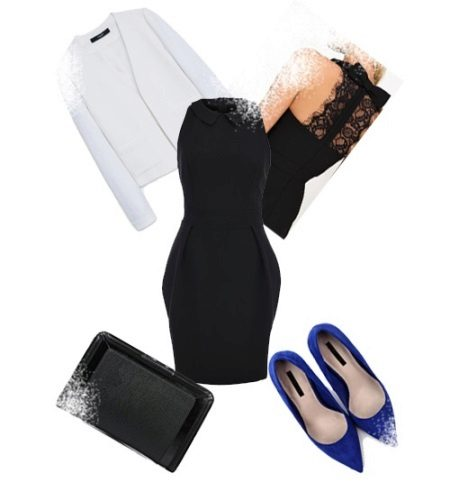 Sheath dress with a loose skirt and accessories for an inverted triangle type figure