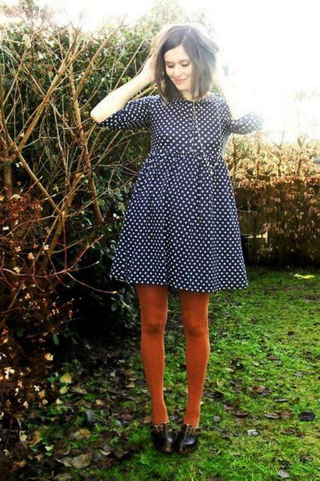 Strømpebukser til kjole med høy midje